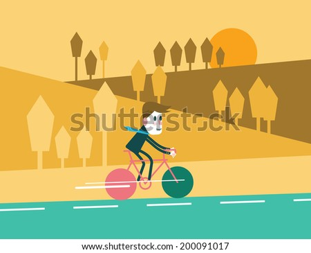 Businessman riding a bike in mountain nature landscape background. flat design element .vector illustration - stock vector