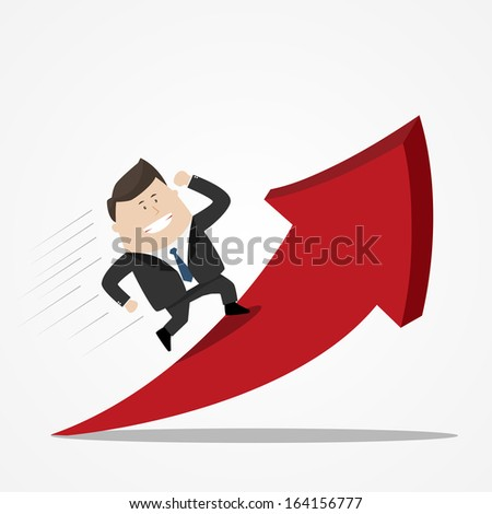 businessman runing on red arrow - success concept - stock vector