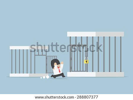 Businessman runing out from small cage to the bigger cage, VECTOR, EPS10 - stock vector