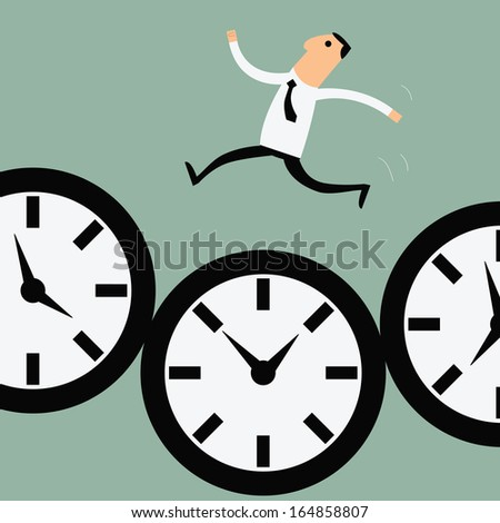 Businessman running along with time, business concept in busy and hard working.   - stock vector
