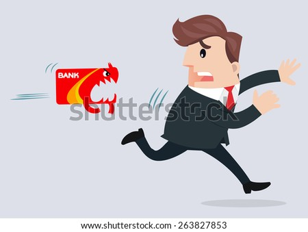 businessman running away from credit card - stock vector