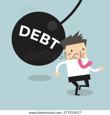 Businessman running away from huge pendulum with message 'debt', financial crisis in tax burden concept - stock vector