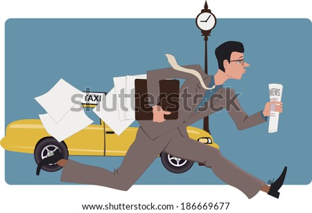 Businessman running down a city street with a newspaper and losing papers from his folder, vector illustration - stock vector
