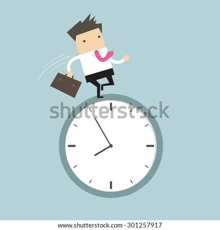 Businessman running on clock - stock vector