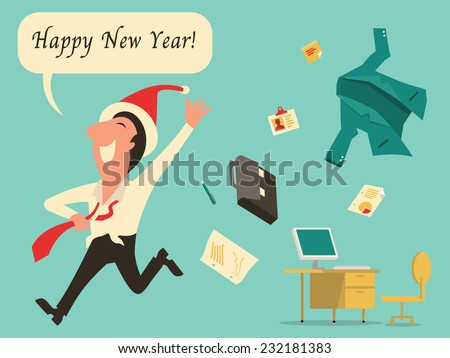 Businessman running with raising hand, wearing Christmas hat, enjoy and celebrate happy new year after finish working at workplace.   - stock vector