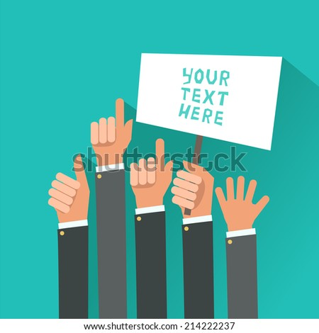 Businessman's hands, gestures. A lot of hands hold a placard. Vector illustration in flat style isolated on blue - stock vector