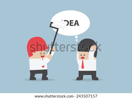 Businessman's idea is being erased by his rival, VECTOR, EPS10 - stock vector