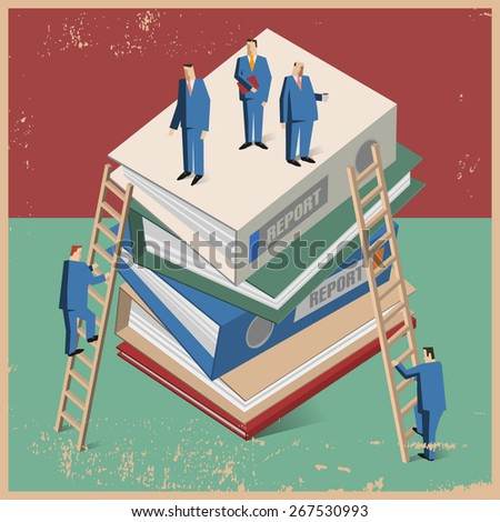 Businessman's with too many folders and ladder. Conception of career advancement. - stock vector