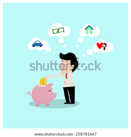 Businessman savings to dreams. - stock vector