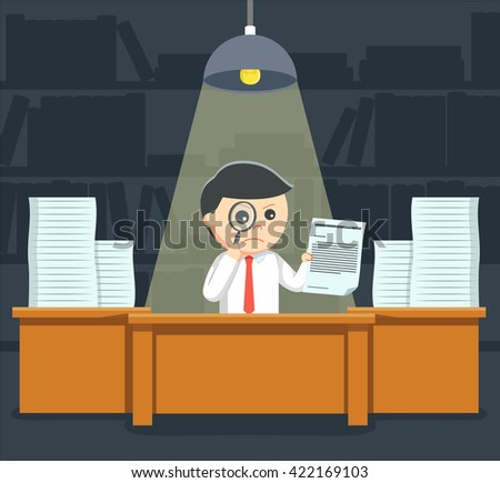 businessman searching document using magnify glass - stock vector