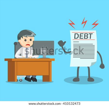 businessman see his debt while working - stock vector