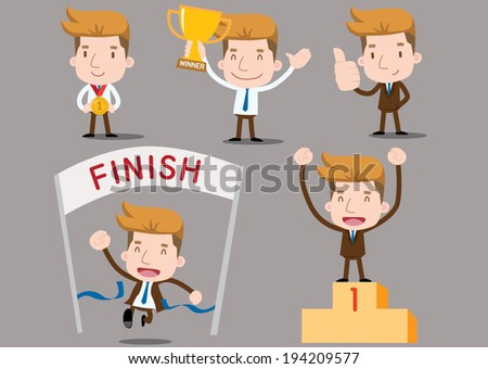 Businessman series - winner set - stock vector