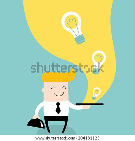 Businessman serve ideas on the plate. Business success and profit concept. Vector illustration - stock vector