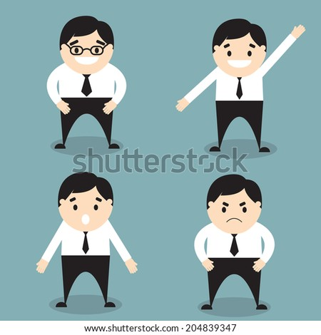Businessman set of characters emoticons. Vector illustration. Flat design - stock vector