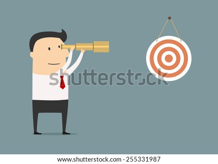 Businessman setting his sights on the target peering through a telescope at a red and white target on the wall of his office in a conceptual vector illustration - stock vector