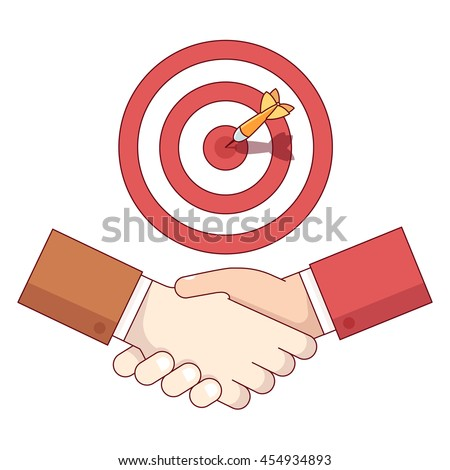 Businessman shaking hand under target aim with sticking dart. Business achievement and accomplishment concept. Modern flat style thin line vector illustration isolated on white background.  - stock vector