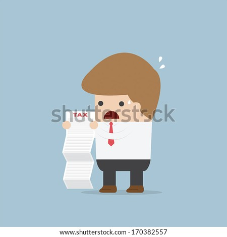 Businessman shocked when he reading the documents, VECTOR, EPS10 - stock vector