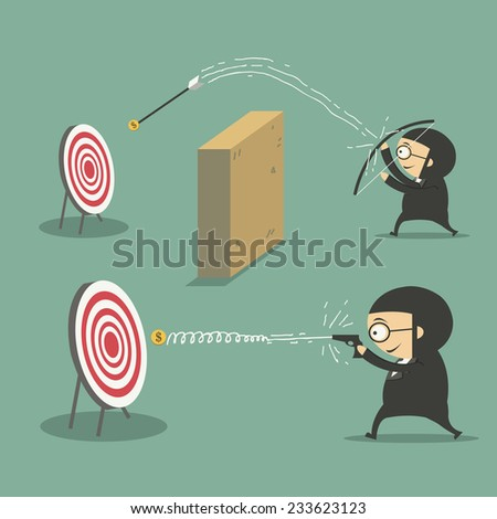 businessman shooting gun and businessman training with a bow - stock vector