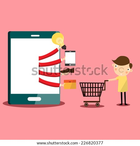 Businessman shopping online in front of computer, VECTOR, EPS10 - stock vector