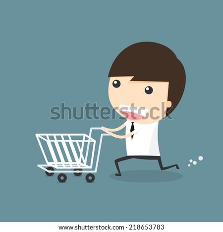Businessman shopping with cart - stock vector