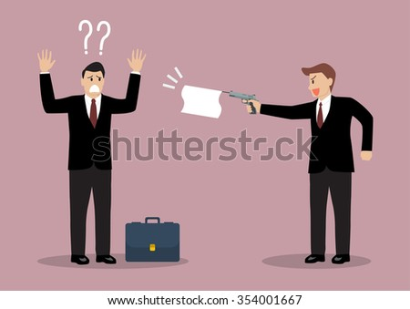 Businessman shots a white flat to other businessman. Business concept - stock vector
