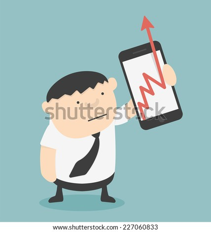 Businessman show Business Growth Chart With smartphones - stock vector