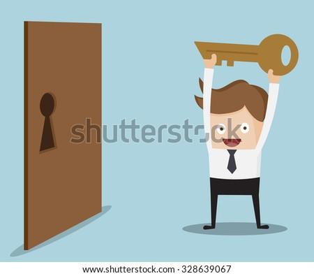 businessman show key for locked door cartoon vector illustration - stock vector