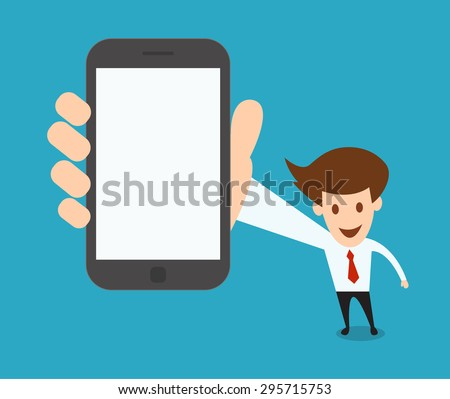 businessman showing a blank smart phone screen vector illustration - stock vector