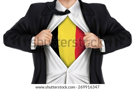 businessman showing Belgium flag underneath his shirt over white background - stock vector