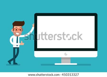 Businessman showing blank modern computer screen, flat style cartoon. - stock vector