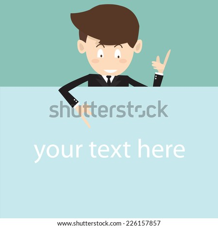businessman showing blank signboard - stock vector