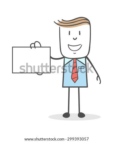 Businessman showing his business card - stock vector