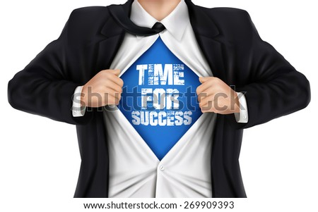businessman showing Time for success words underneath his shirt over white background - stock vector