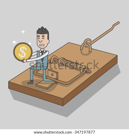 Businessman shut in a mouse trap, isometric style, vector, illustration - stock vector