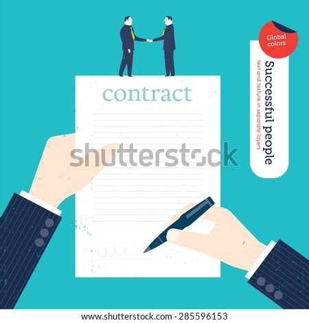 Businessman signing a contract and two businessmen shaking hands. Vector illustration Eps10 file. Global colors. Text and Texture in separate layers. - stock vector