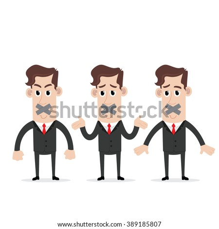 Businessman silenced with duct tape over his mouth - stock vector