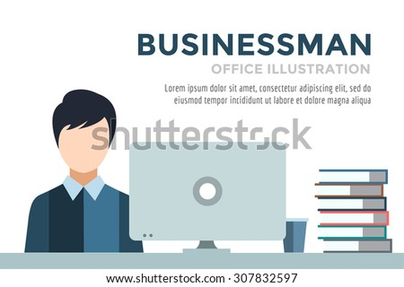 Businessman silhouette. Business man work infographic. People at work. Labor Day. Office life and business man. Business situation. People in action. Computer, table, books, clock. Business man icon - stock vector