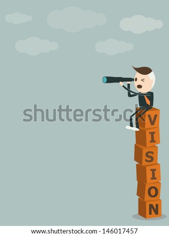 Businessman sit on success looking forward into the future, vector format - stock vector
