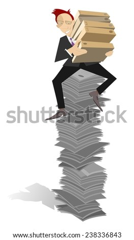 Businessman sits on the high pile of documents  - stock vector