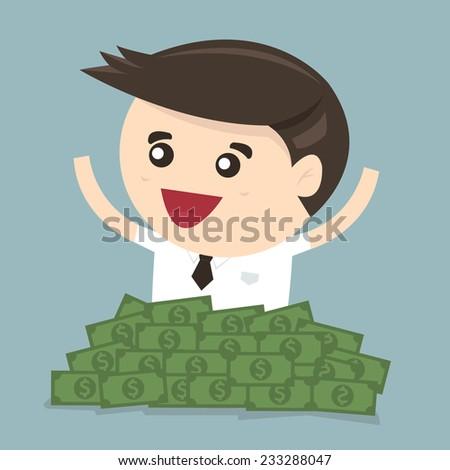 Businessman sitting in a pile of dollar money, vector, flat design - stock vector