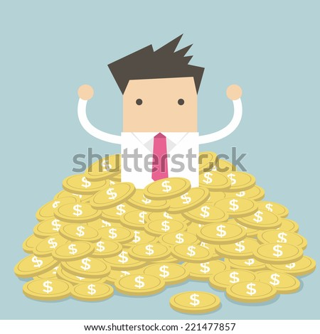 Businessman sitting in a pile of gold coins vector - stock vector