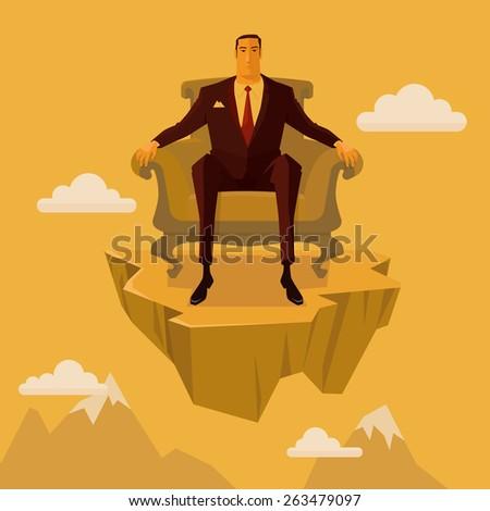 Businessman sitting on an armchair on cliff. Concept vector, Illustration. - stock vector