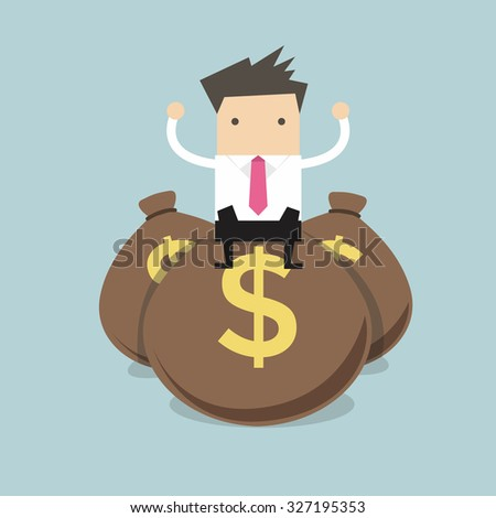 Businessman sitting on top of a pile of dollar money bags - stock vector
