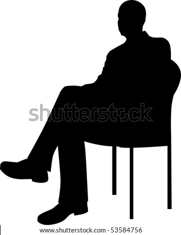 Businessman Sitting Silhouette - stock vector