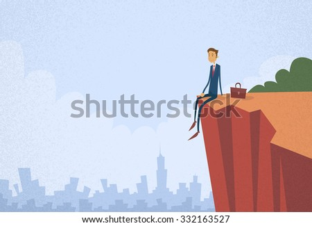 Businessman Sitting Top Cliff Rock Mountain Concept Flat Vector Illustration - stock vector