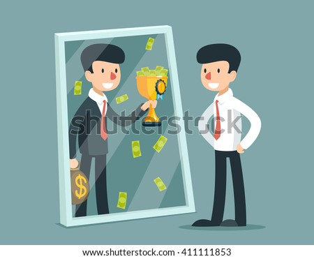 Businessman standing in front mirror and see himself being successful. Business concept. Success reflection. Vector illustration - stock vector