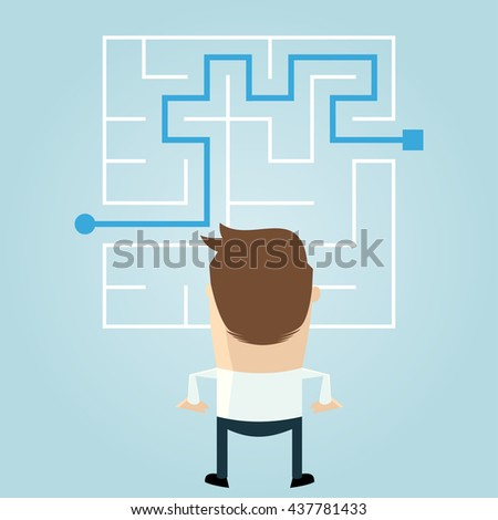 businessman standing in front of a maze with a solution to success - stock vector
