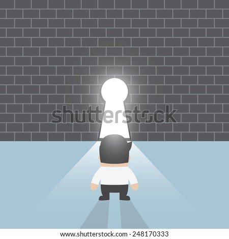 Businessman standing in front of keyhole, VECTOR, EPS10 - stock vector