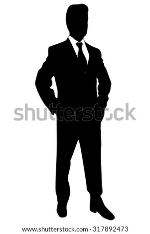 businessman standing isolated on white - stock vector