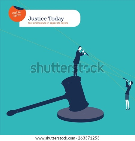 Businessman standing on a hammer of justice with spyglass looking at a businesswoman. Vector illustration Eps10 file. Global colors. Text and Texture in separate layers. - stock vector